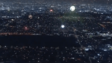 Photo of LA cityscape with fireworks goes full Blade Runner
