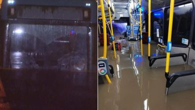 Photo of Pictured: The flooded bus which sparked a rescue operation